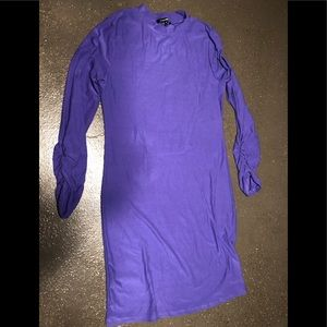 Purple dress with ruched sleeves